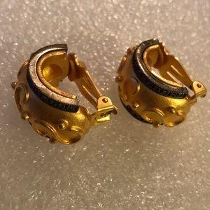 Judith Jack JJ marcasite gold clip on earring